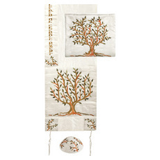 ee1b659e7ce Yair Emanuel Embroidered Raw Silk Tallit Set Tree of Life Design in Green